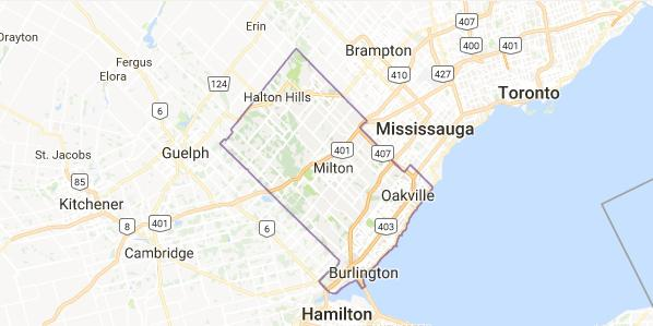 Map of Halton Region