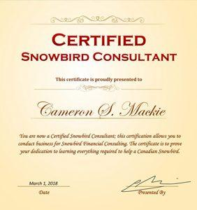Snowbird Financial Consulting and Cameron Mackie